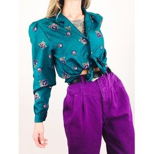 Vintage 💫 Teal Blouse with Motif